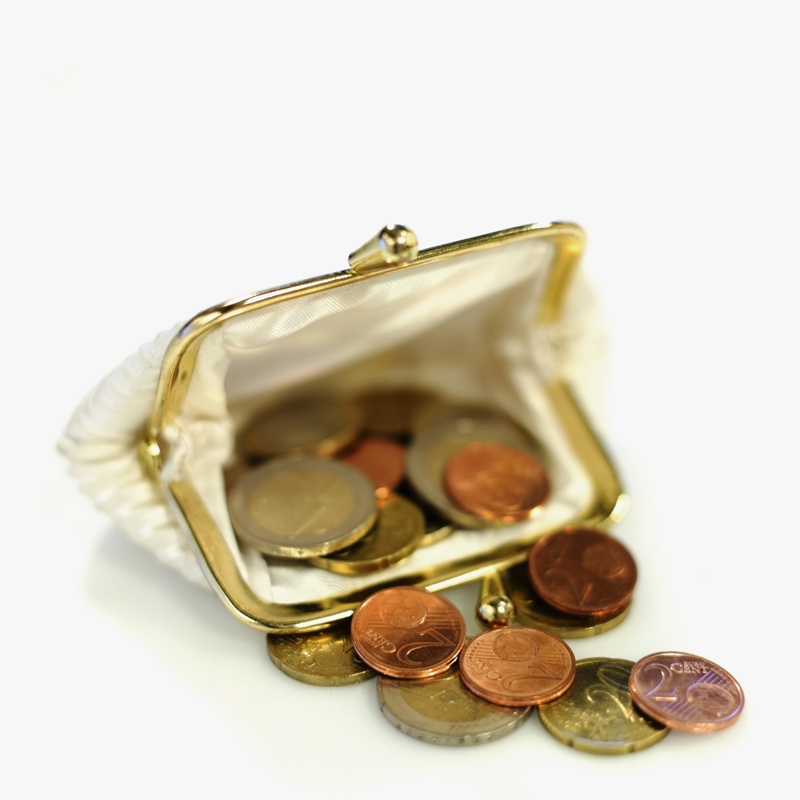 Close-up of euro coins spilling out of change purse
