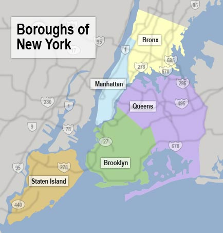The 5 boroughs of NYC