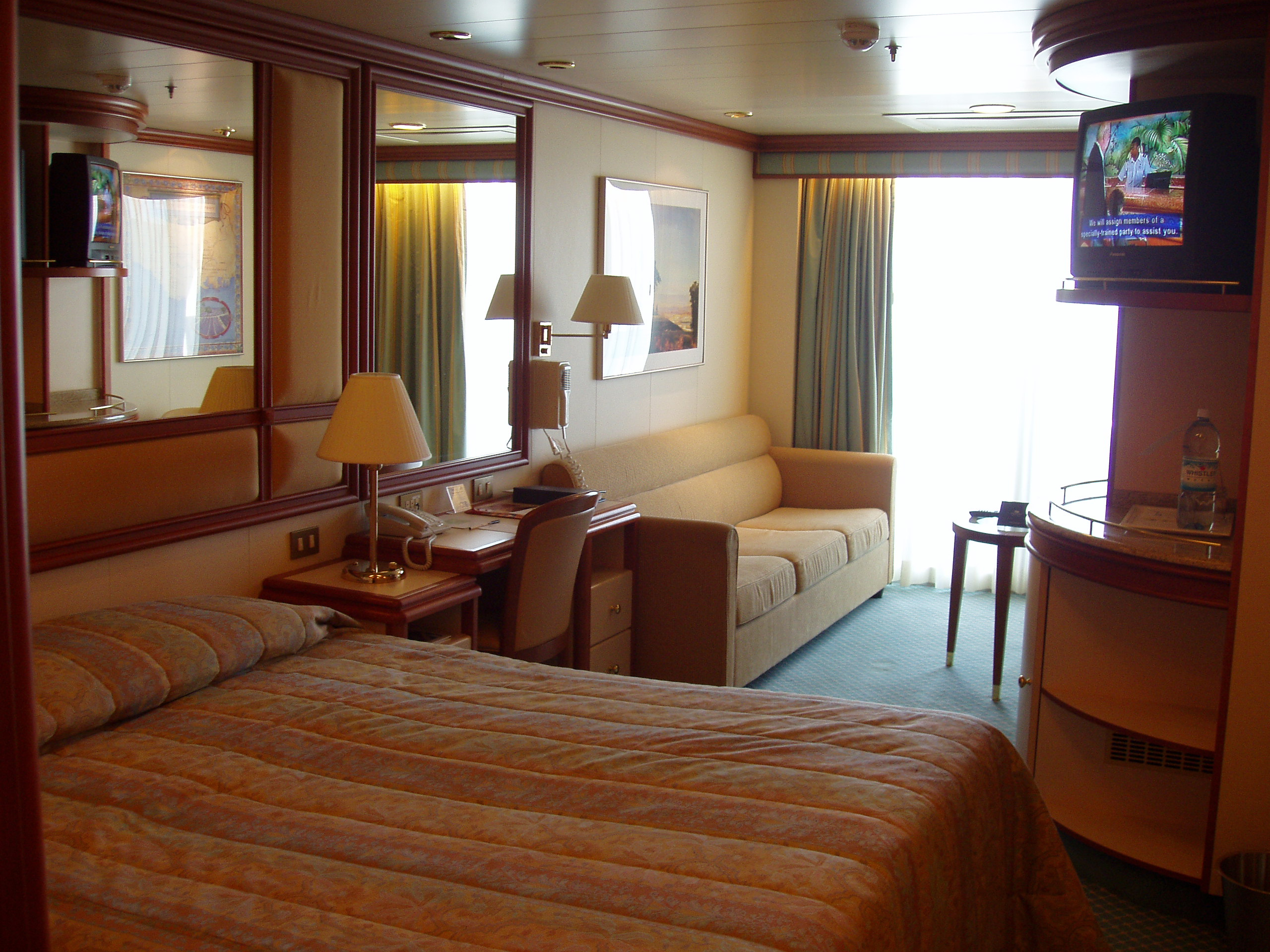 The cabins on a cruise ship are too small