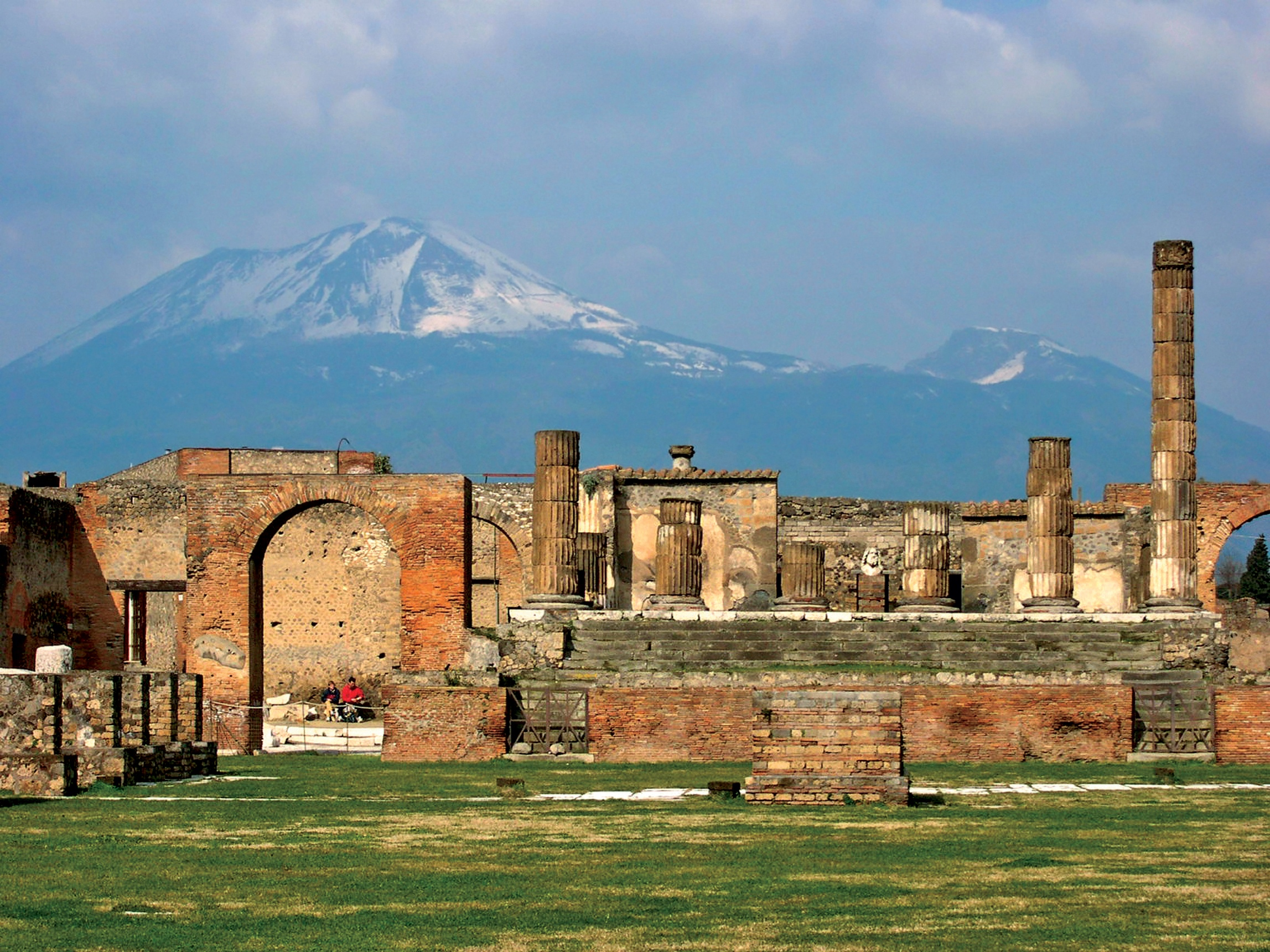 The ruins of Pompeii, with Mt. Vesuvius in the distance