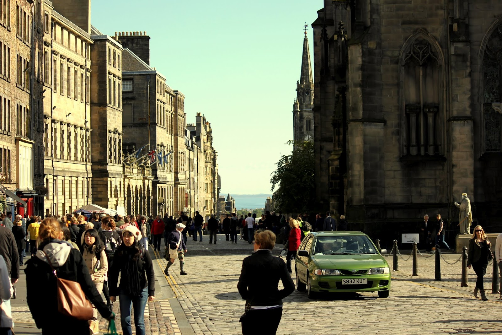 Walking down the Royal Mile in Edinburgh
