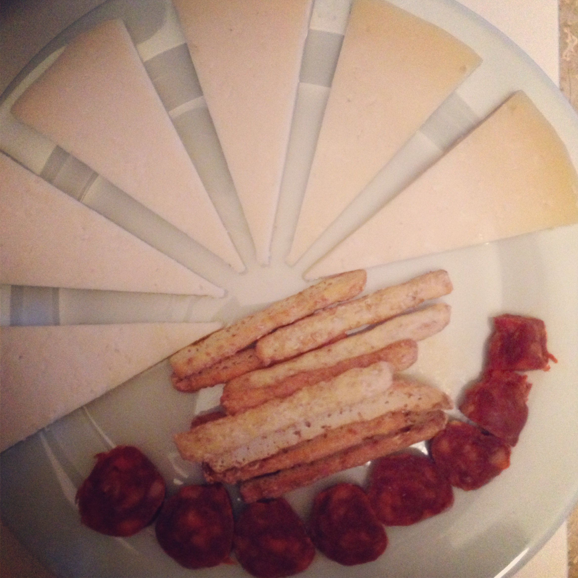 cheese and cured meats (chorizo)