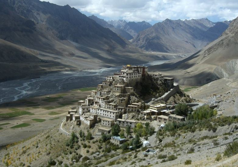 Kye Gompa with Spiti River flowing behind