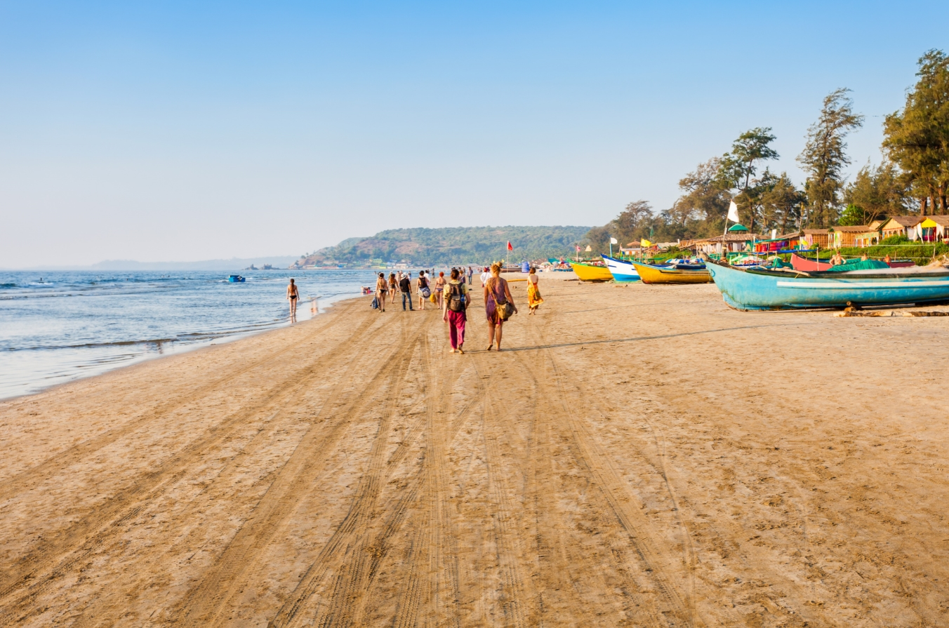 Baga Beach have water sports, eateries, bars, nightspots & a festive atmosphere